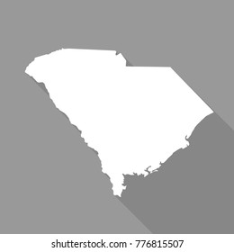 South Carolina white map,border flat simple style with long shadow on grey background