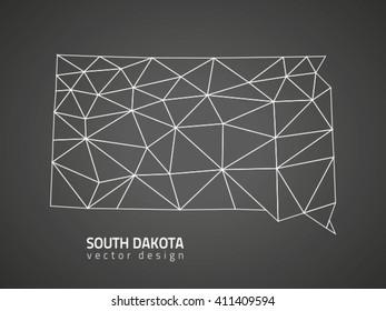 South Dakota America grey vector contour map