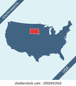 South Dakota location on USA map