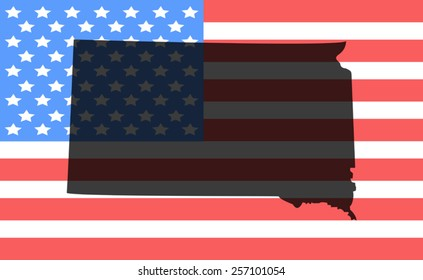 South Dakota map on a vintage american flag background
