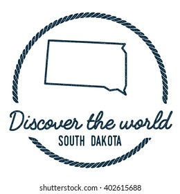 South Dakota Map Outline. Vintage Discover the World Rubber Stamp with South Dakota Map. Hipster Style Nautical Rubber Stamp, with Round Rope Border. USA State Map Vector Illustration.