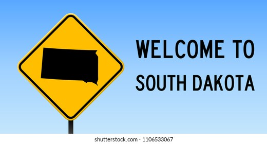 South Dakota map road sign. Wide poster with us state outline on yellow rhomb signboard. Vector illustration.