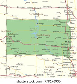 South Dakota map. Shows state borders, urban areas, place names, roads and highways.Projection: Mercator.