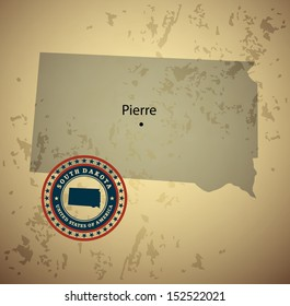 South Dakota map with stamp vintage vector background