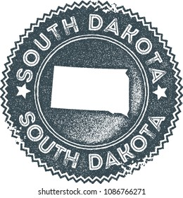 South Dakota map vintage dark blue stamp. Retro style handmade us state label, badge or element for travel souvenirs. Vector illustration.