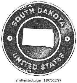 South Dakota map vintage dark grey stamp. Retro style handmade us state label, badge or element for travel souvenirs. Vector illustration.