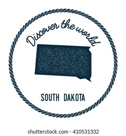 South Dakota map in vintage discover the world rubber stamp. Hipster style nautical postage stamp, with round rope border. Vector illustration.