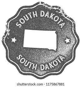 South Dakota map vintage grey stamp. Retro style handmade us state label, badge or element for travel souvenirs. Vector illustration.
