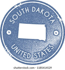 South Dakota map vintage light blue stamp. Retro style handmade us state label, badge or element for travel souvenirs. Vector illustration.
