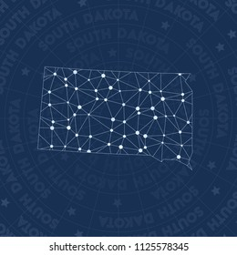 South Dakota network style us state map. Bewitching space style, modern design for infographics or presentation.