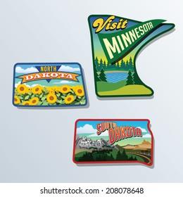 South Dakota, North Dakota, Minnesota, United States vector illustrations
