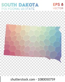 South Dakota polygonal, mosaic style us state map. Brilliant low poly style, modern design for infographics or presentation.