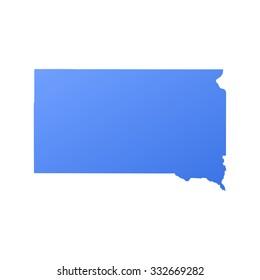 South Dakota state border,map