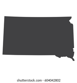 South Dakota state map in black on a white background. Vector illustration