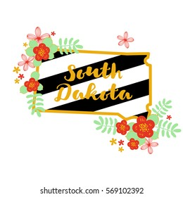 South Dakota State Map Creative Vector Typography Lettering Composition with flowers. Design Concept
