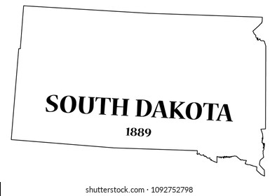 A South Dakota state outline with the date of statehood isolated on a white background
