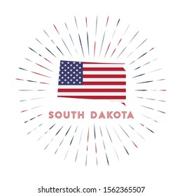South Dakota sunburst badge. The us state sign with map of South Dakota with American flag. Colorful rays around the logo. Vector illustration.