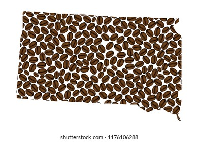 South Dakota (United States of America) -  map of coffee bean, South Dakota map made of coffee beans,