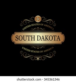 South Dakota USA State.Vintage frame.
