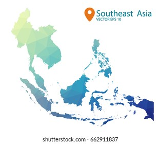 South east asia map - blue geometric rumpled triangular low poly style gradient graphic background