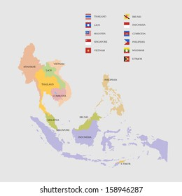 South East Asia map and flags vector illustration