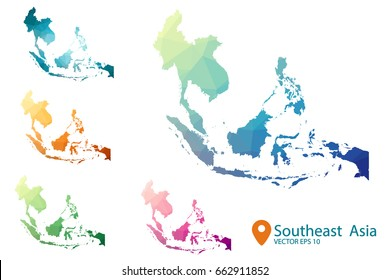 South east asia map - set geometric rumpled triangular low poly style gradient graphic background