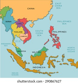 South East Asia Map : Vector Illustration