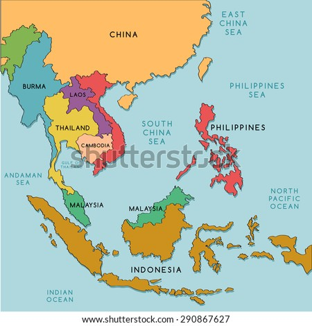 South East Asia Map Vector Illustration Stock Vector Royalty Free