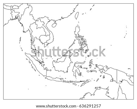 South East Asia Political Map Black Stock Vector Royalty Free