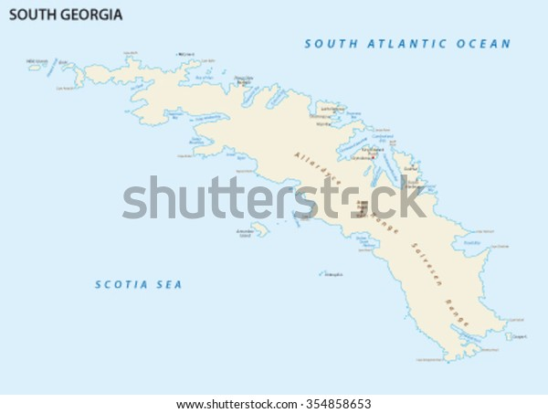 South Georgia Island Map Stock Vector (Royalty Free) 354858653