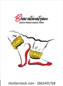 South Indian dance form Bharatanatyam. Classical dancing girl's feet with anklets vector isolated.