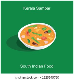 South indian delicious food kerala style sambar for onam festival isolated green background