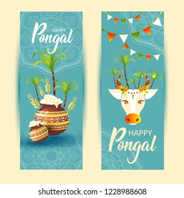 South Indian Festival Pongal Background Template Design Vector Illustration Banners - Pongal Festival Background