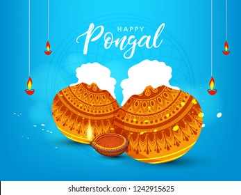 South Indian Festival Pongal Background Template Design Vector Illustration - Pongal Festival Background and elements with text of Pongal and sale