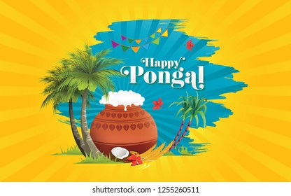 South Indian Festival Pongal Background Template Design - Pongal Background Template Design