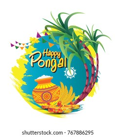 South Indian Festival Pongal Background Template Design Vector Illustration - Pongal Festival Background
