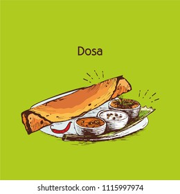 South Indian food . dosa  traditional vector