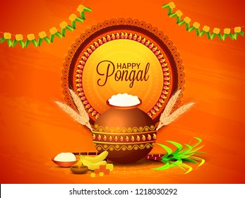 South Indian harvest festival, Happy Pongal celebrations banner or poster design with religious offerings and traditional pot on orange background.