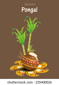 South Indian harvesting festival, Happy Pongal celebrations with rice in traditional mud pot, sugarcane and wheat grain on floral rangoli decorated brown background.