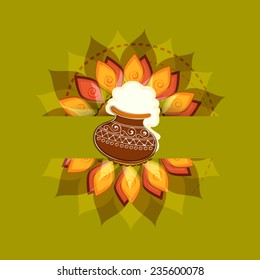 South Indian harvesting festival, Happy Pongal celebrations with rice in traditional mud pot on floral design decorated green background.