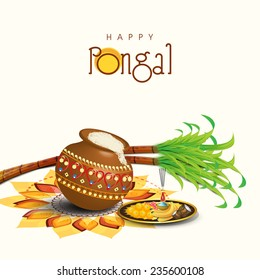 South Indian harvesting festival, Happy Pongal celebrations with rice in traditional mud pot, sugarcane and plate of religious offerings on colorful rangoli.