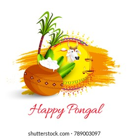 South Indian Harvesting Festival Happy Pongal Greeting Card Background.
