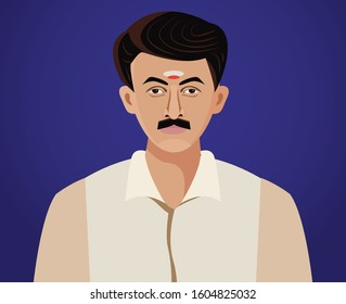 south indian man close up vector illustration