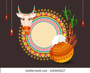 South Indian Tamil Festival Pongal Background Template Design Vector Illustration - Pongal Festival Background and elements with text of Pongal and sale