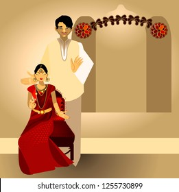 South Indian Tamil, Telugu, Kannada, Malayalee or Kerala couple wedding. Red silk sari.Antique Indian jewelry design. Stage Decorations. Vector illustration.