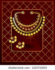 South Indian Tamil, Telugu, Kannada, Malayalee or Kerala wedding.Antique Indian jewelry design. Vector illustration.