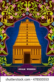 South Indian temple structure building for Happy Onam in vector