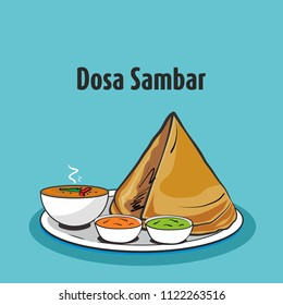 south indian traditional food dosa sambar