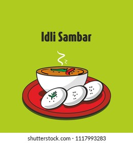 South indian traditional food idli sambar