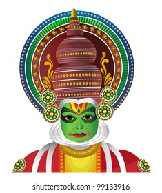 South Indian Traditional Kathakali Dancer Isolated